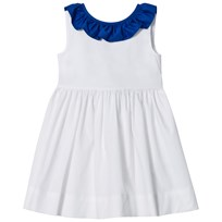 Il Gufo White and Blue Frill Collar Sleeveless Dress 0147