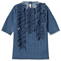 Il Gufo Blue Frill Detail Denim Dress 483