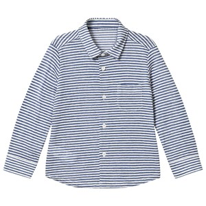 Image of Il Gufo Navy Stripe Long Sleeve Shirt 10 years (2887464033)