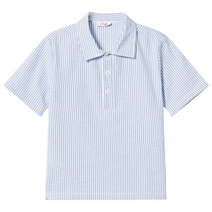 Image of Il Gufo White and Blue Stripe Seersucker Polo Shirt 2 years (2887464211)