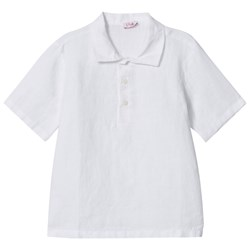 Il Gufo White Linen Polo Shirt