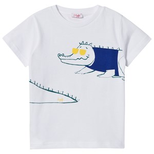 Image of Il Gufo White Crocodile Print Tee 2 years (2887464275)