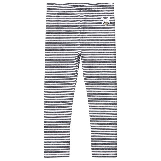 Le Chic White and Navy Stripe Leggings 190