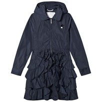 Le Chic Navy Ruffle Hem Hooded Mac 190