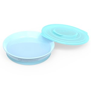 Twistshake Plate + Cover (6+ m) Pastel Blue One Size