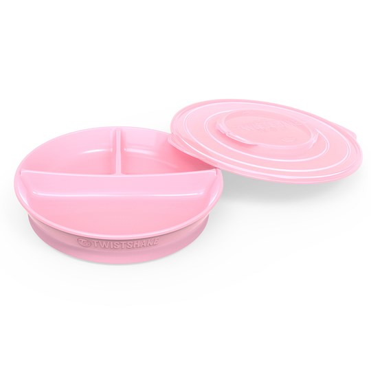 Twistshake Divided Plate + Cover (6+ m) Pastel Pink Pink