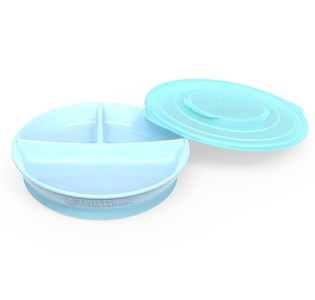 Twistshake Divided Plate + Cover (6+ m) Pastel Blue