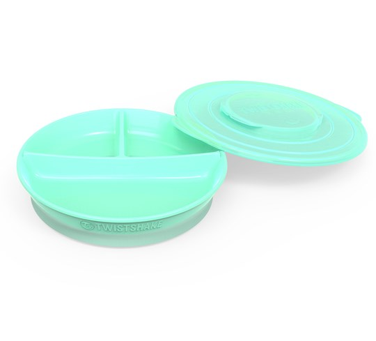 Twistshake Divided Plate + Cover (6+ m) Pastel Green Green