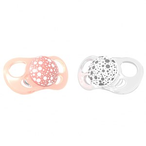 Image of Twistshake 2-Pack Orthodontic Pacifiers Large (6+ m) Pastel Peach & White (3065507147)
