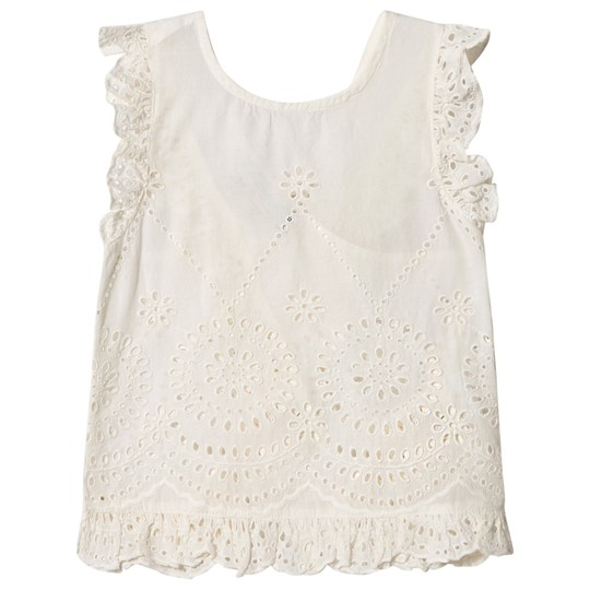Stella McCartney Kids White Broderie Anglaise Moss Sleeveless Top 9082