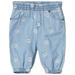 Image of Stella McCartney Kids Blue Chambray Embroidered Skull Pull Pants 6 months (2890587429)