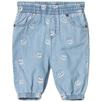 Stella McCartney Kids Chambray Embroidered Skull Byxor Blå 4160