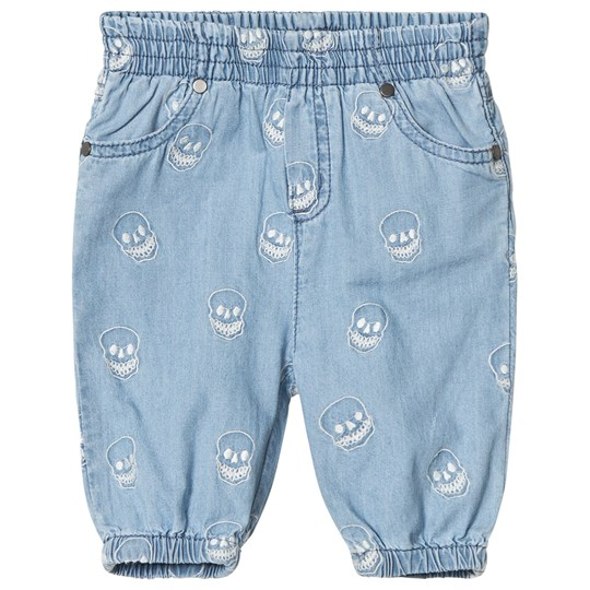 Stella McCartney Kids Blue Chambray Embroidered Skull Pull Pants 4160