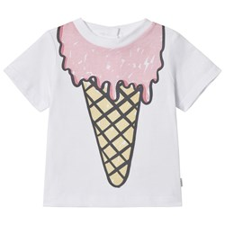 Stella McCartney Kids White Chuckle Print Ice Cream Tee
