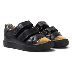 AKID Black and Gold Metallic Velcro Leather Trainers