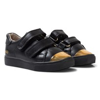 AKID Black and Gold Metallic Velcro Leather Trainers Black