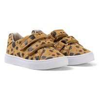 AKID Brown and Black Dalmatian Print Velcro Trainers TAN/BLACK