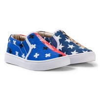 AKID Blue and Red Multi Bandana and Star Odd Print Slip Ons blue multi