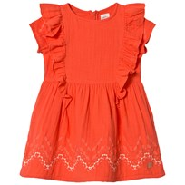 Carrément Beau Orange Frill Dress with Embroidered Details 402