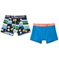 Bjorn Borg 2-Pack of Blue and Navy Print Trunks 80601 NORTH SEA