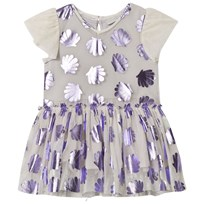 Stella McCartney Kids Purple Bellie Metallic Shells Tulle Dress 5351