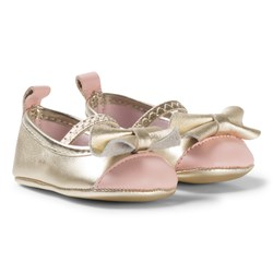 Carrément Beau Gold and Pink Leather Ballerina Crib Shoes