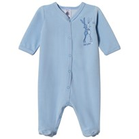 Petit Bateau Velour Footed Baby Body Blue