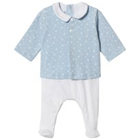 Petit Bateau Footed Baby Body Blue