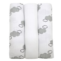 Muslinz Organic Bamboo Muslins (3 Pk) White and Cloud Print Grey & White
