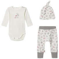 United Colors of Benetton Panda Hat, Sweater & Trouser Set Cream/Pink CREAM&PINK