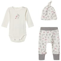 United Colors of Benetton Panda Hat, Baby Body & Trouser Set Cream/Pink CREAM&PINK