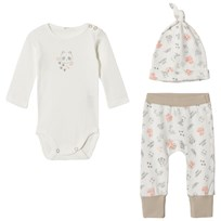 United Colors of Benetton Panda Hat, Sweater & Trouser Set Cream/Beige CREAM&BEIGE