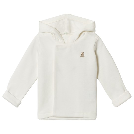 United Colors of Benetton Soft Jersey Hooded Jacket With Bunny Detail Off White 白色