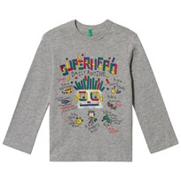 United Colors of Benetton Superhero Routine T-Shirt Grey Black