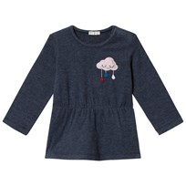 United Colors of Benetton Rain Drop Print T-Shirt With Cloud Detail Navy Marinblå