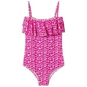 Image of Melissa Odabash Pink Heart Print Ivy Frill Front Swimsuit 10 years (2899233735)