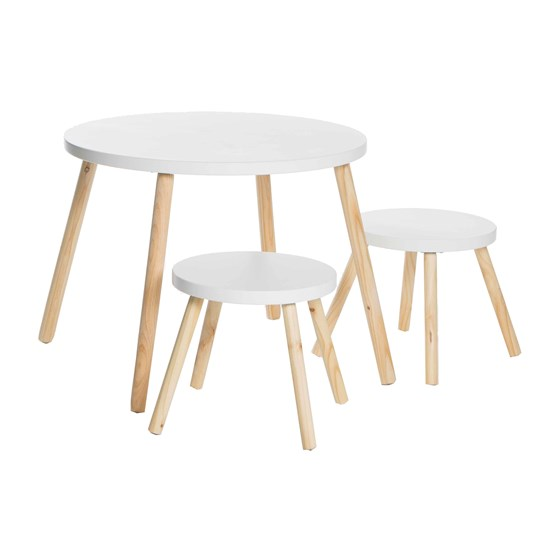 JOX Table & 2 Stools White