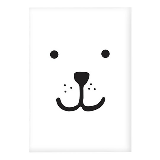 Tellkiddo Animal Face Bear A3 White