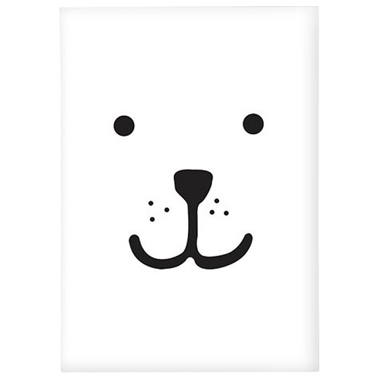 Tellkiddo Animal Face Bear A4 Poster White