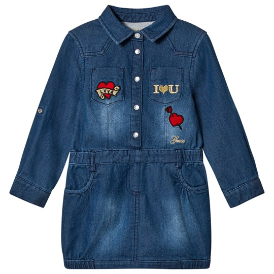 Guess Blue Soft Denim Embroidered Heart Shirt Dress MKWH