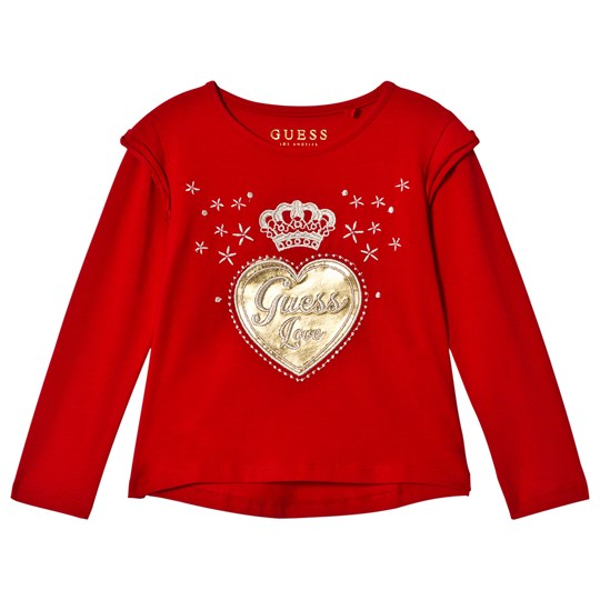 Guess Red and Gold Heart Frill Tee RHT