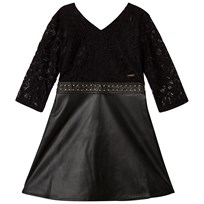 Guess Black Lace and Pleather Dress with Gold Detail JBLK