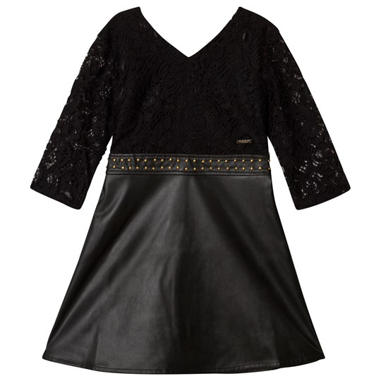 Guess Marciano Black Lace and Pleather Dress JBLK