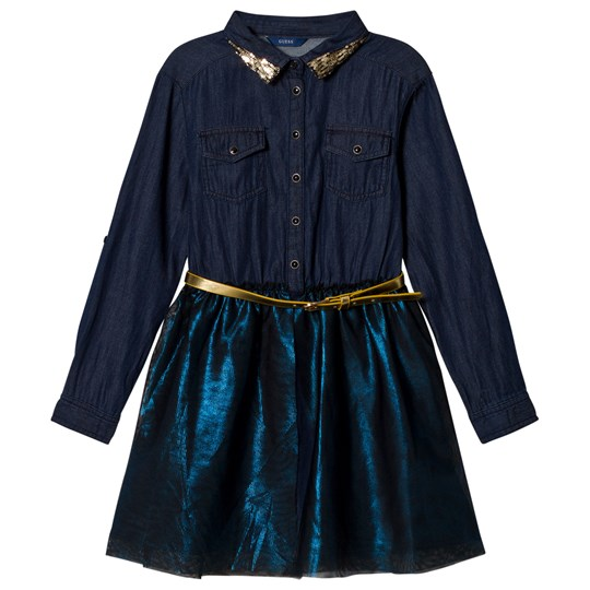 Guess Navy Denim Shirt Dress with Tulle Overlay RISW