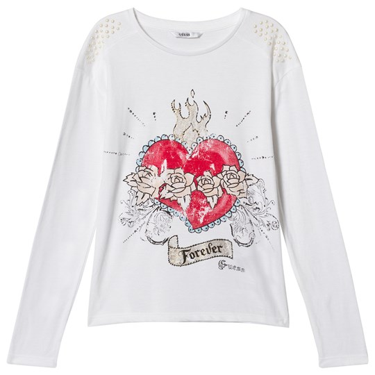 Guess White Heart Print and Diamante and Pearl Tee TWHT
