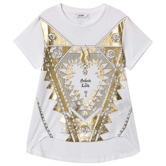 Guess White and Gold Love Heart Tee TWHT