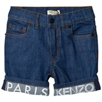 Kenzo Mid Blue Wash Denim Shorts with Branded Cuffs 461