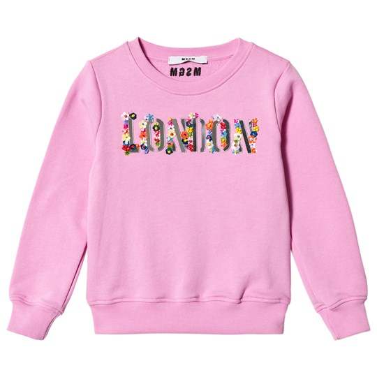 MSGM Pink London and Floral Applique Sweatshirt 042