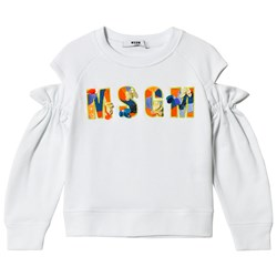 MSGM White Embroidered Logo and Floral Cold Shoulder Sweatshirt