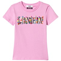 MSGM Pink London and Floral Applique Tee 042